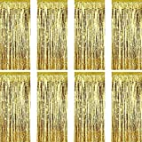 Sumind 8 Pack Foil Curtains Fringe Curtains Tinsel Backdrop Metallic Curtains for Birthday Wedding Party Photo Booth Decorations (Gold)