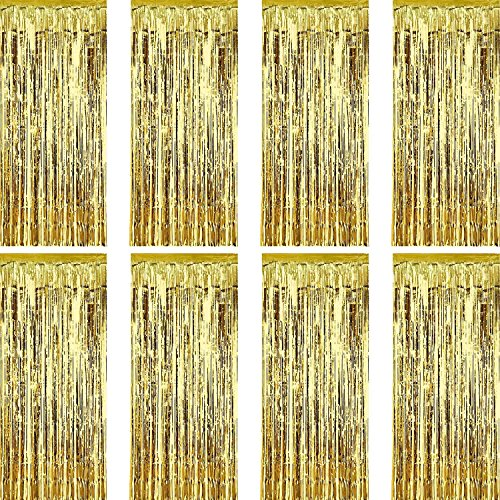 Sumind 8 Pack Foil Curtains Fringe Curtains Tinsel Backdrop Metallic Curtains for Birthday Wedding Party Photo Booth Decorations (Gold)]()