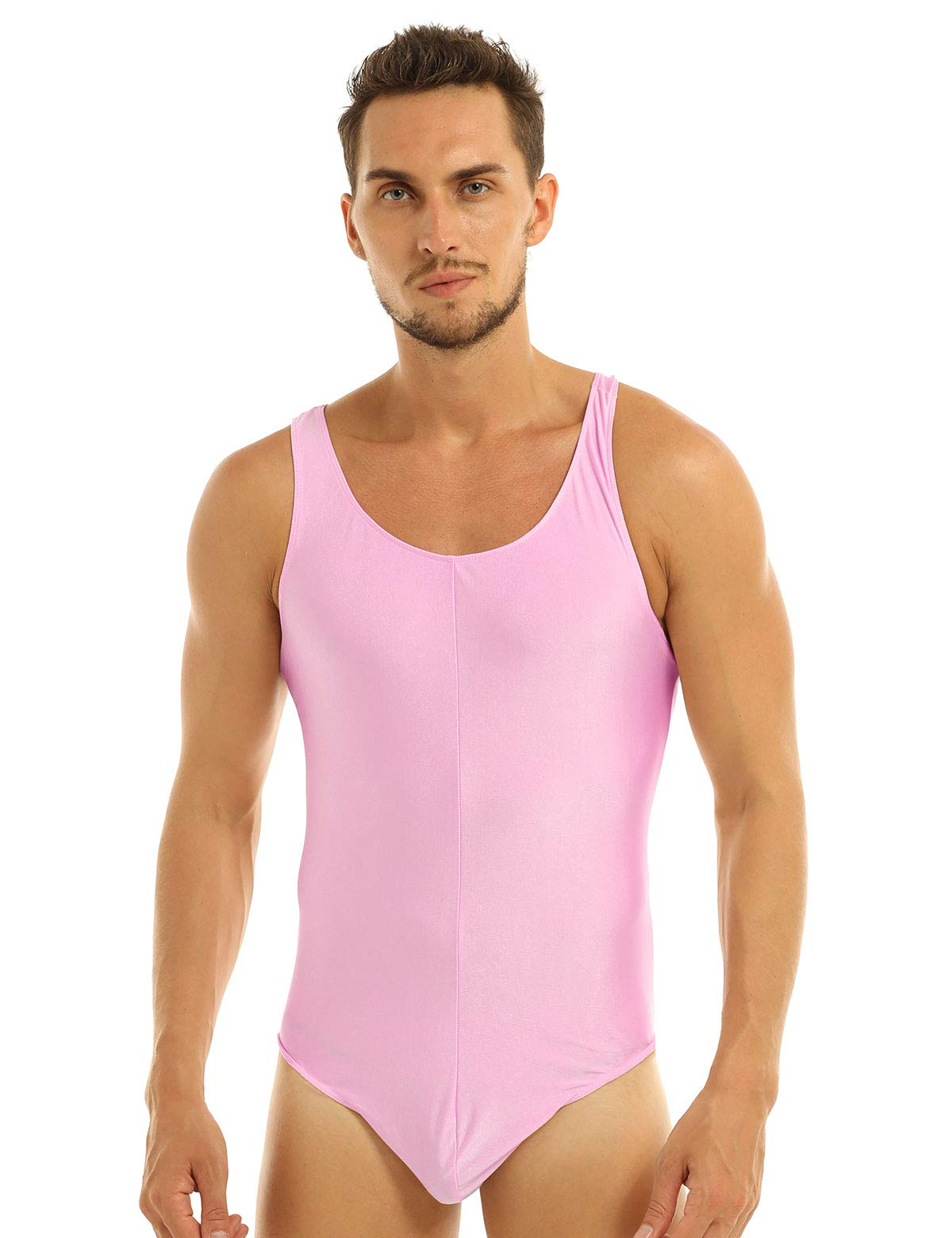 IEFIEL Mens Sleeveless Stretchy One Piece Bodysuit Sport Gym Workout Dancewear Biketard Tank Unitard Pink Leotard Medium by iEFiEL