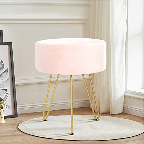 ECOTOUGE Velvet Footrest Ottoman Round Modern Upholstered Vanity Footstool Side Table Seat Dressing Chair with Golden Metal Leg Pink