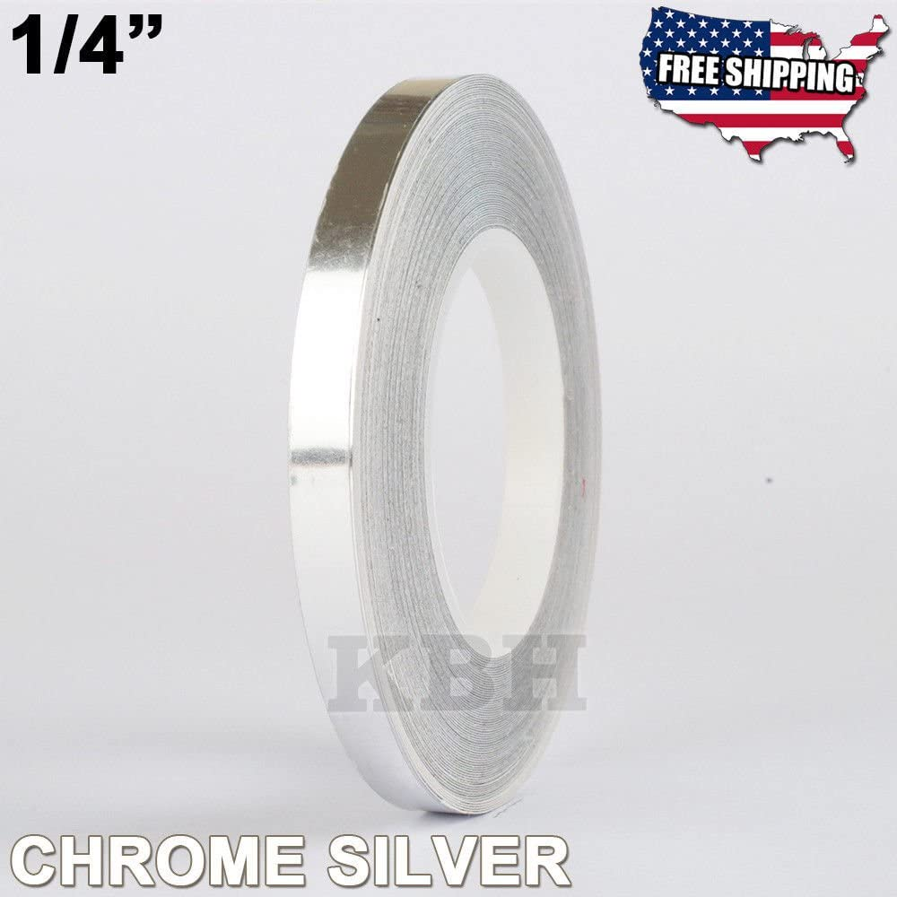 "1//4/"" Roll Vinyl Pinstriping Pin Stripe Line Tape Decal Sticker 6mm GREEN CHROME"