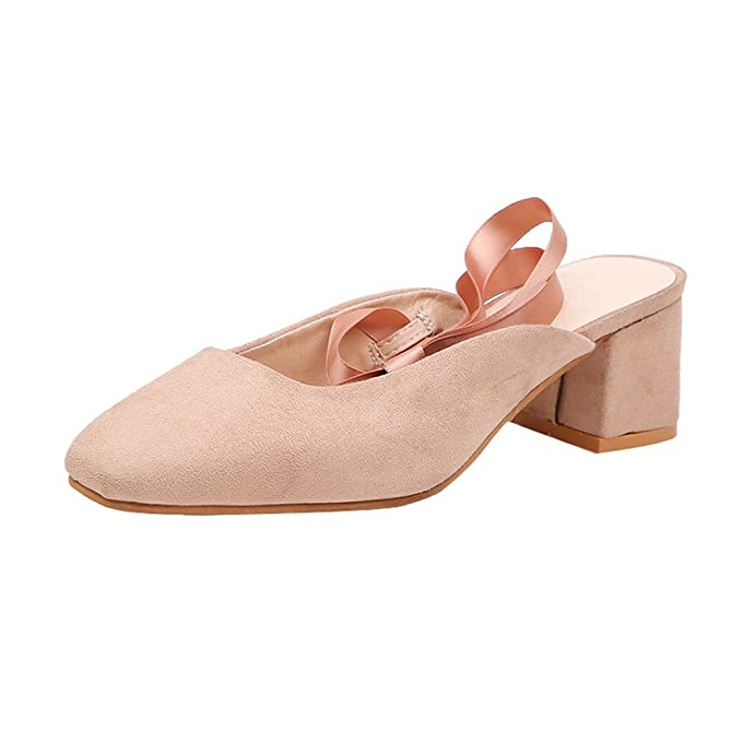 Briskorry Sandalias Pequeño Fresco Zapatos de Mujer Correas Calzado Tacón Grueso Zapato Baotou Zapatillas Color Caramelo Chancla: Amazon.es: Ropa y ...