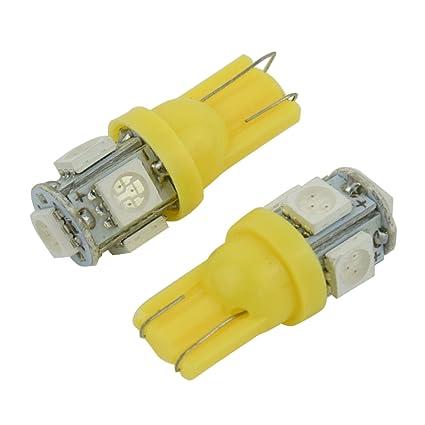 LED Bombilla de coche - SODIAL(R)2pzs T10 W5W Naranja 5 SMD LED