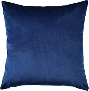 """Artcest Decorative Velvet Throw Pillow Case, Soft Solid Cushion Cover for Sofa Couch and Bed, 26""""x26"""", Royal Blue, Pack of 1"""