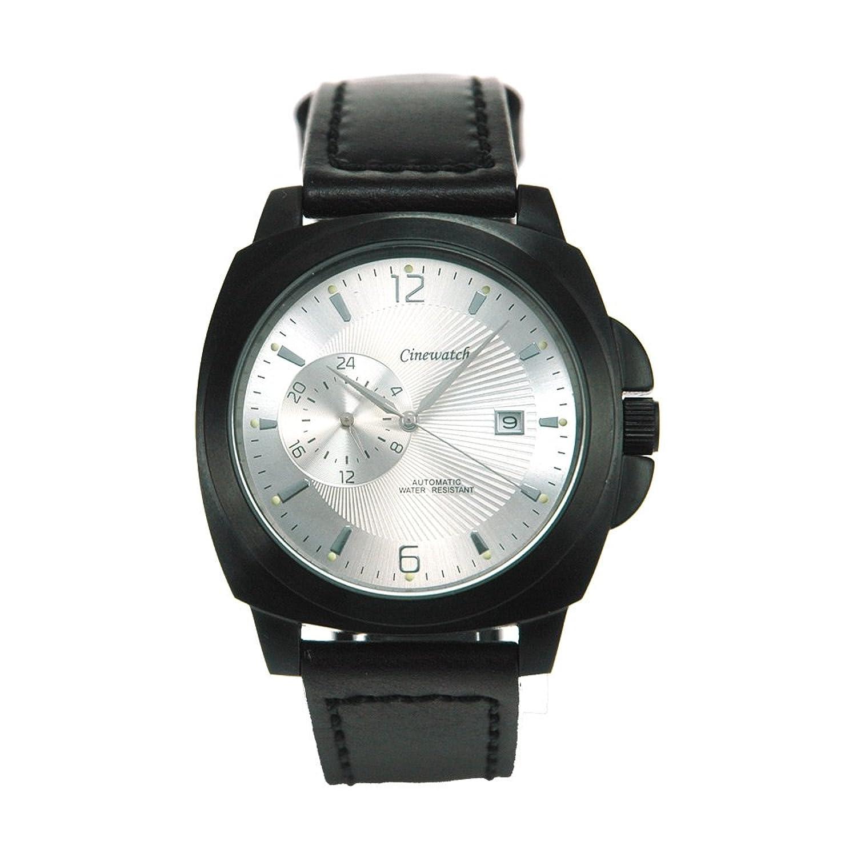 Cinewatch 707545402 Herrenarmbanduhr - MODERN TIMES - Automatik Miyota 8217 - Edelstahl schwarz - Lederband - 5 ATM