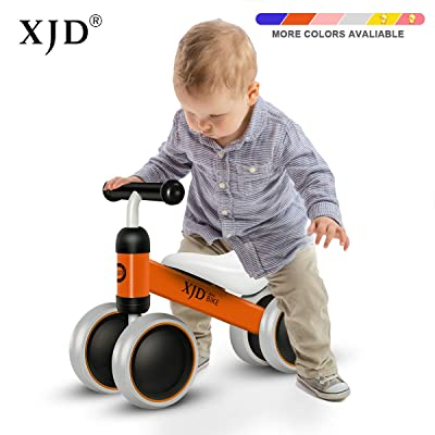 XJD Baby Balance Bikes Bicycle Baby Toys for 1 Year Old Boy Girl 10 Month -24 Months Toddler Bike Infant No Pedal 4 Wheels First Bike or Birthday Gift Children Walker Orange: Sports & Outdoors