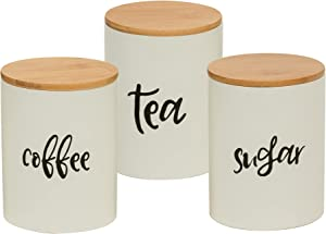 Kitchen Food Storage Ceramic Canister,Set of 3 Airtight Ceramic Canisters with bamboo Lid, Decorative Coffee, Sugar, Tea Storage Containers for Kitchen Counter, Rustic Farmhouse Decor,24.68 FL OZ (730 ML),Set of 3