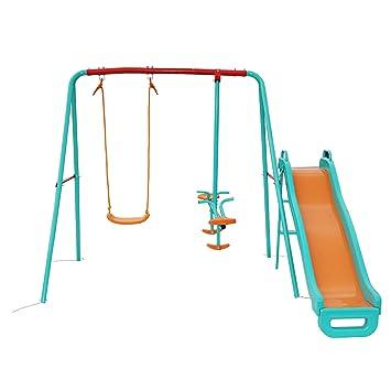 b8e29c1b5 Yorbay Columpio infantil Con balancín Columpio para jardín infantiles  exterior, 5 niños pueden jugar puede cargarse hasta ca.135Kg(Columpio 3 en  1 con ...