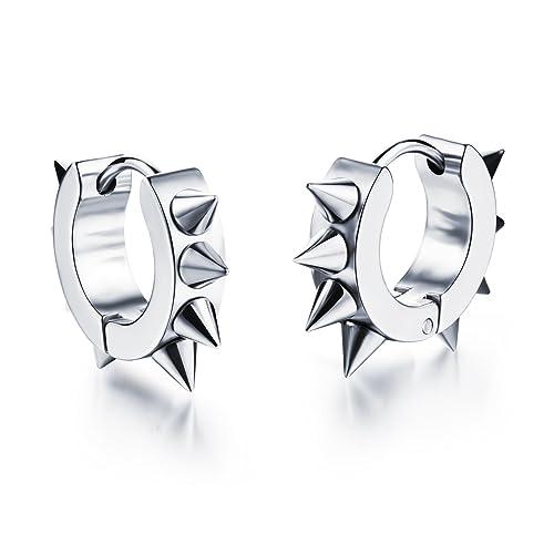 660a634d6 Mintik Jewelry Stainless Steel Men's Spike Punk Rock Rivets Awl Piercing  Taper Hoop Earrings