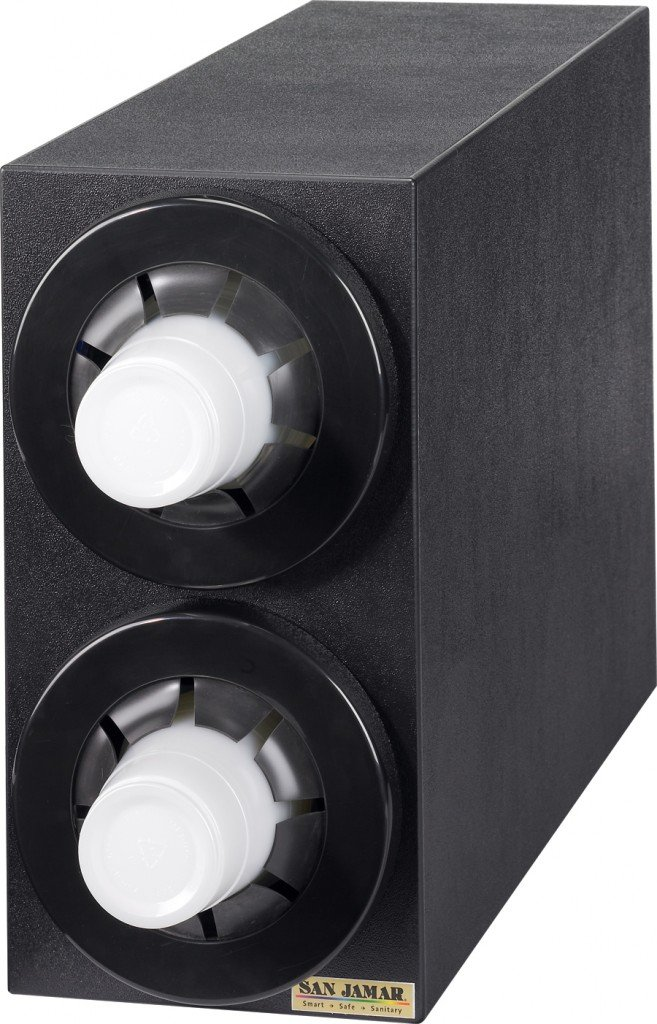 San Jamar C2952BK Sentry Polystyrene Beverage Dispenser Cabinet with Black Metal Finish Trim Rings, 7-3/4'' Width x 15-1/8'' Height x 23-3/4'' Depth, Black