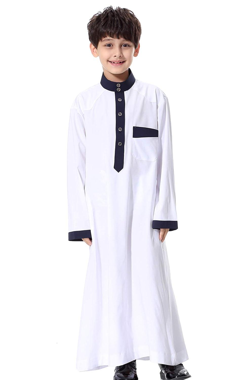 GladThink Ragazzo Musulmano Thobe Maniche Lunghe Collo di Mandarino