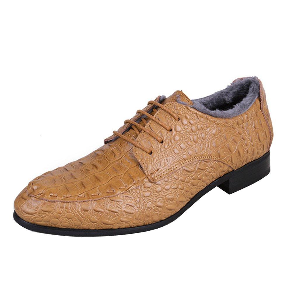 AARDIMI Herren Schnürhalbschuhe Für Männer Geschäft Männer Crocodile Schuhe Herren Kleid Schuhe Plus Größe Hochzeitsschuhe Mann Echtes Leder Oxford Schuhe Braun 2
