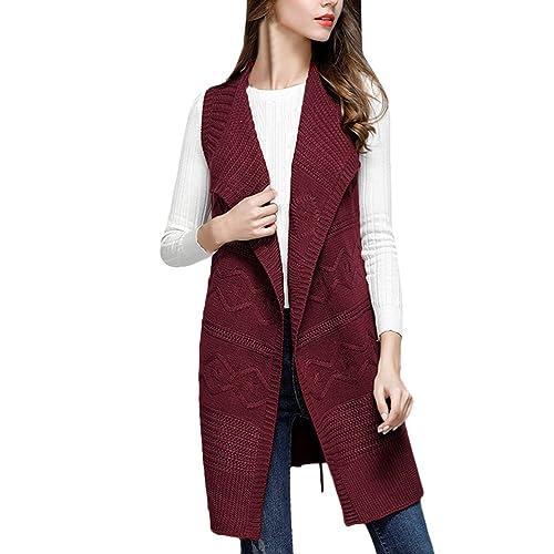 Zhhlinyuan Diseño de moda Fashion Ladies Lapel Knit Sleeveless Vest Long Sweater Cardigan Female Coa...