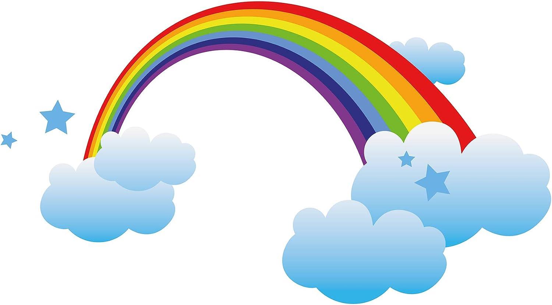 autocollant mural chambre denfant Aren-ciel des nuages et des /étoiles Sticke