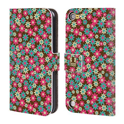 Head Case Designs Rosa Incarnato Pattern Floreali Cover a portafoglio in pelle per iPod Touch 5th Gen / 6th Gen