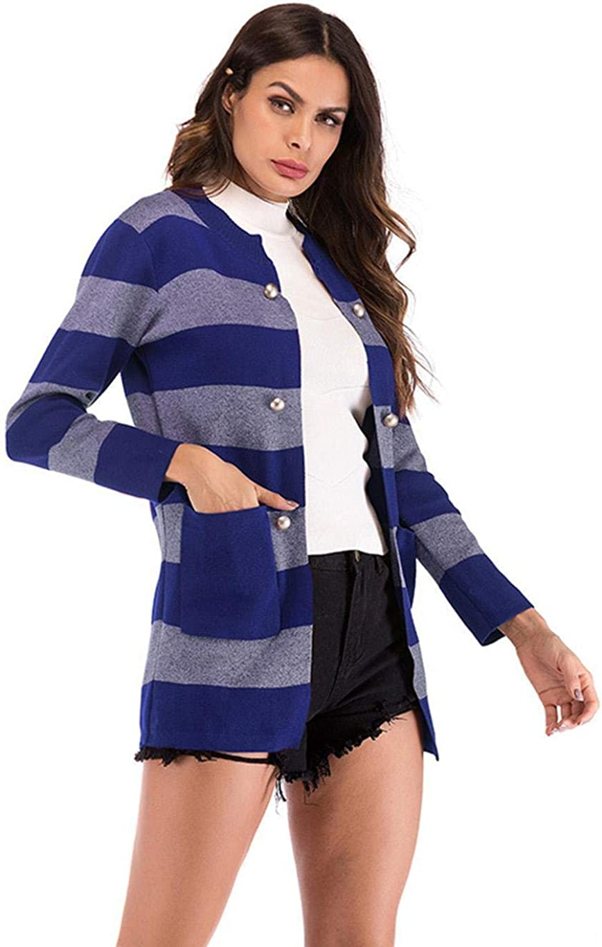 loukou Women Casual Long Sleeve Striped Pocket Button Knitted Cardigan Cardigans