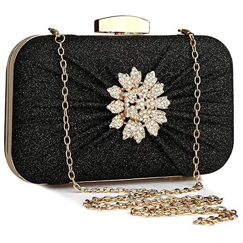 PU Leather Evening Bag Clutch Party Purse Wedding Handbag With Chain Strap Sparkly Rhinestone