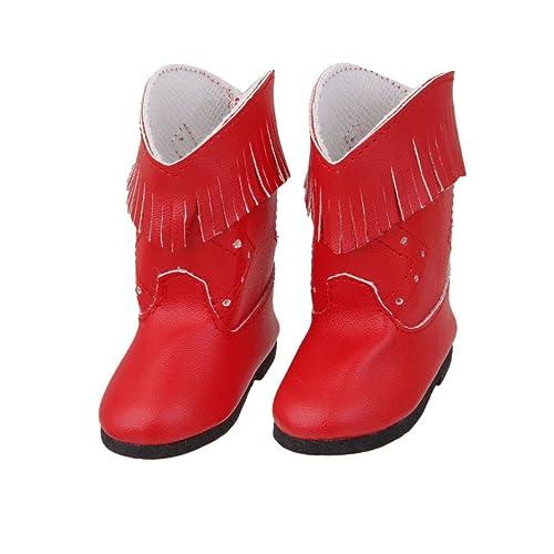 MagiDeal Chaussure Botte Vintage Mode Pour American Poupées Fille Dolls Rouge