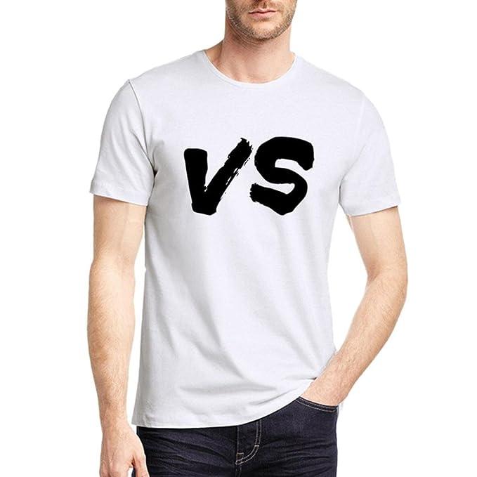Resplend Camiseta de Manga Corta con Cuello en Pico Blanco Estampado geométrico Casual para Hombre