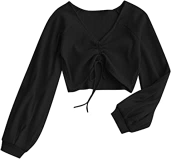 DEZZAL Women's Casual Long Sleeve V-Neck Ribbed Knitted Knot Front Crop Top
