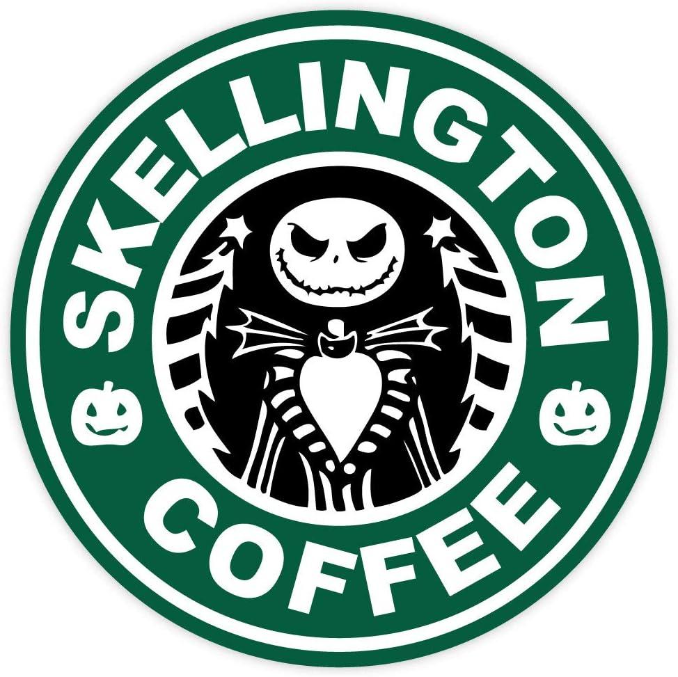 "Skellington coffee sticker decal 4"" x 4"""