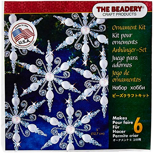 Ornaments Beaded Snowflake (Beadery 7448 Holiday Beaded Ornament Kit Light Sapphire Snowflake Makes 6 Multi)