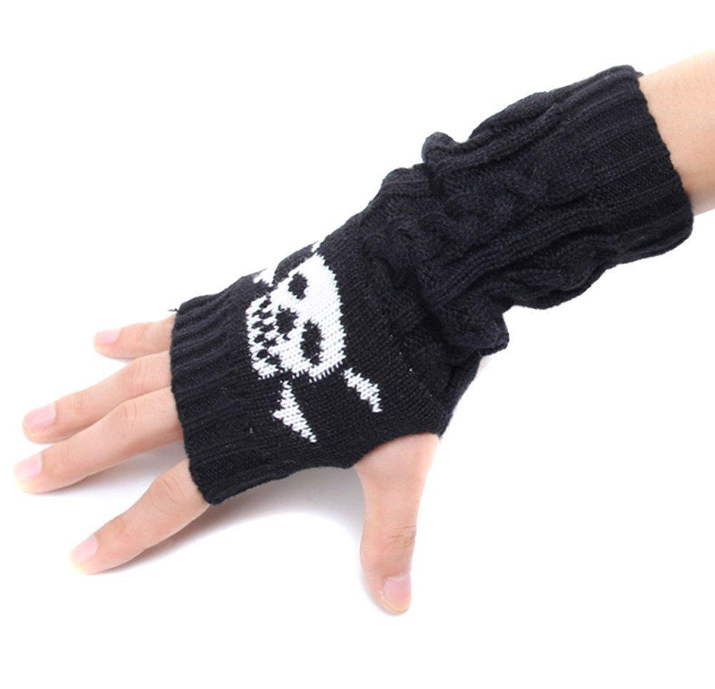 Amazon.com : Natuworld Skull Women Men Winter Knitted Gloves Winter ...