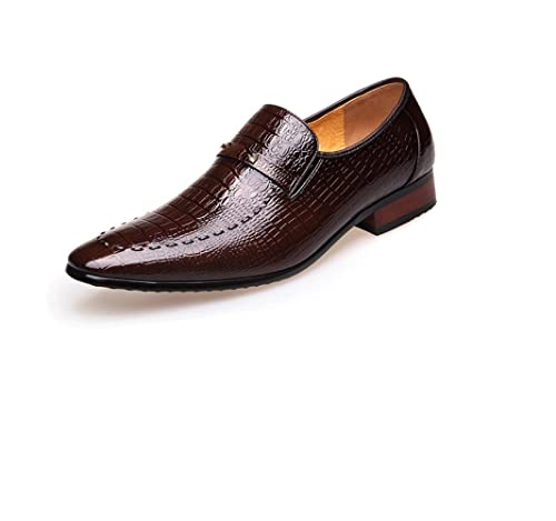 LEDLFIE Scarpe da Uomo in Pelle da Allenamento Formale Scarpe da Uomo in Coccodrillo,Brown-37