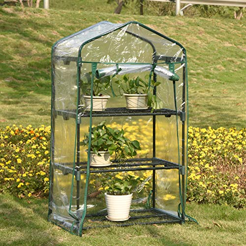 WZTO 3-Tier Mini Greenhouse, Portable Mini Garden House with Warm Clear PVC Cover for Indoor/Outdoor Growing Seeds & Seedlings, Tending Potted Plants Flower Zipper Roll Up Front by WZTO (Image #8)
