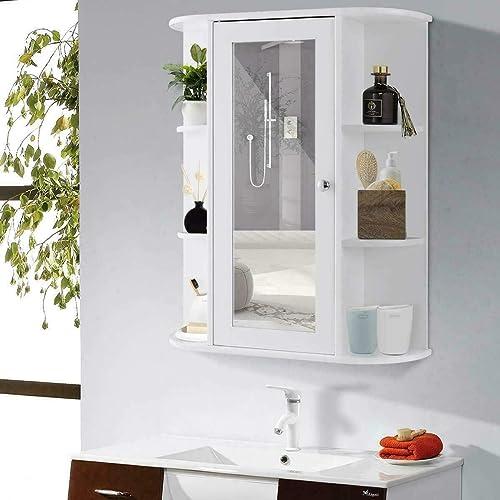 Home Bathroom Wall Mount Cabinet Storage Shelf Over Toilet w/Mirror Door