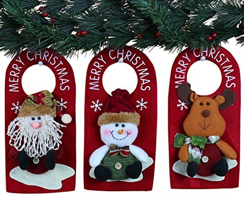 10quot 3 Pack Plush 3D Applique Style Christmas Decorations  Beautiful Detailed Designs  Padded Felt Door Hangers