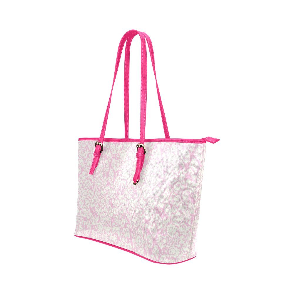 InterestPrint Pink Popcorn Leather Tote Bag Large