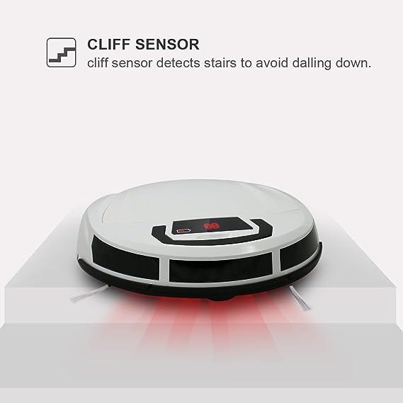 EVERTOP Aspiradora inteligente, Robot aspiradora para pisos, Robot barredor inalámbrico con ponderosa aspiradora casera robótica, Blanco (FD-2RSW(B)): ...
