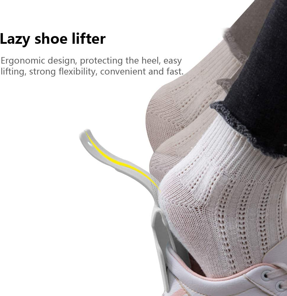 One Size Fits for All Shoe All Age Lazy Shoe Helper,Handled Shoe Horn,Portable Sock Slider,Shoe Helper Easy On Easy Off,Plastic Travel Shoehorn Shoe Lifting Helper