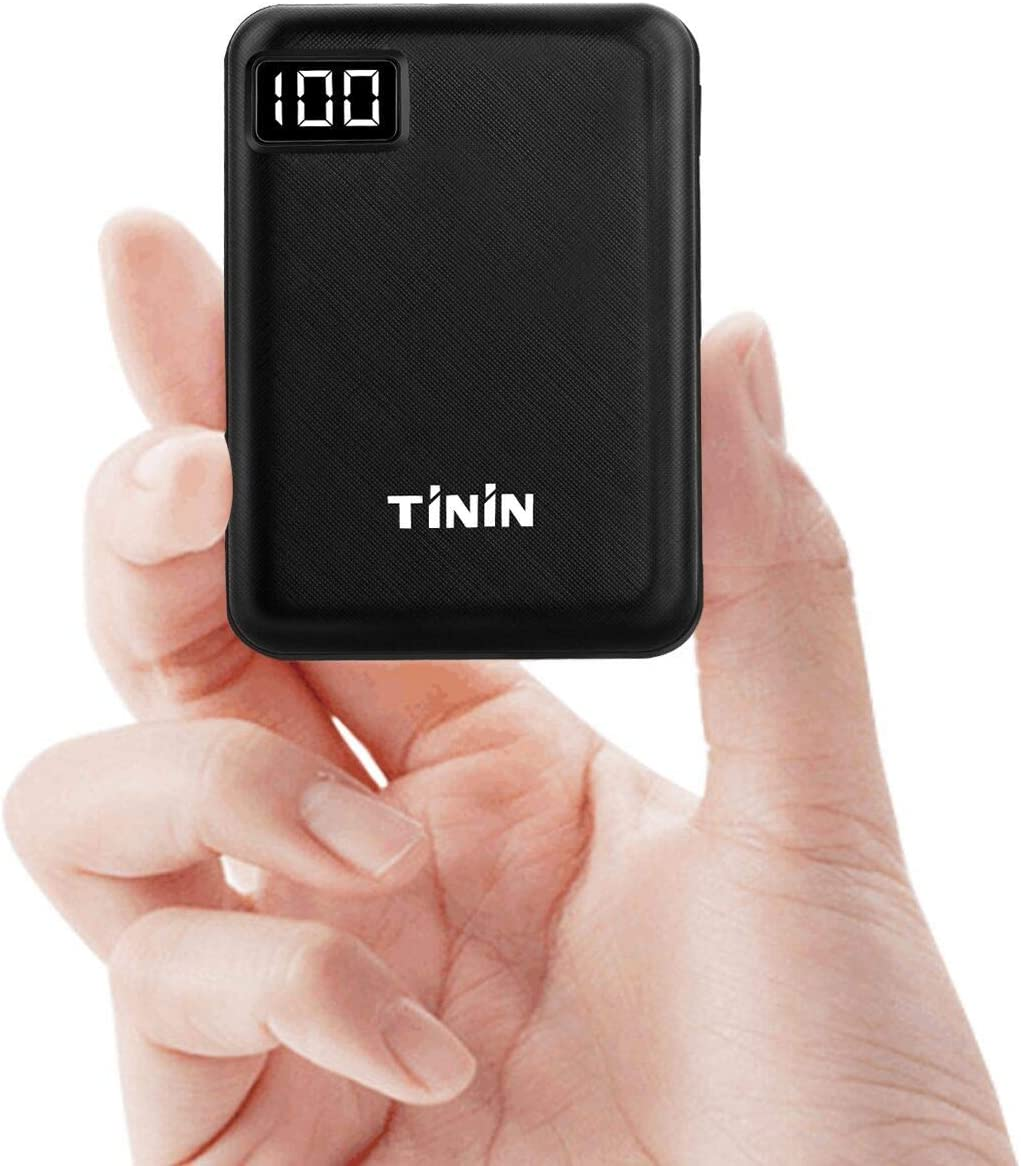 Mini Portable Charger Battery 10000mAh Power Bank USB External Battery Packs with Dual USB Output 2.1A for iPhone IPad Samsung Tablet [UL Certified Wall Charger Included] TININ, T096