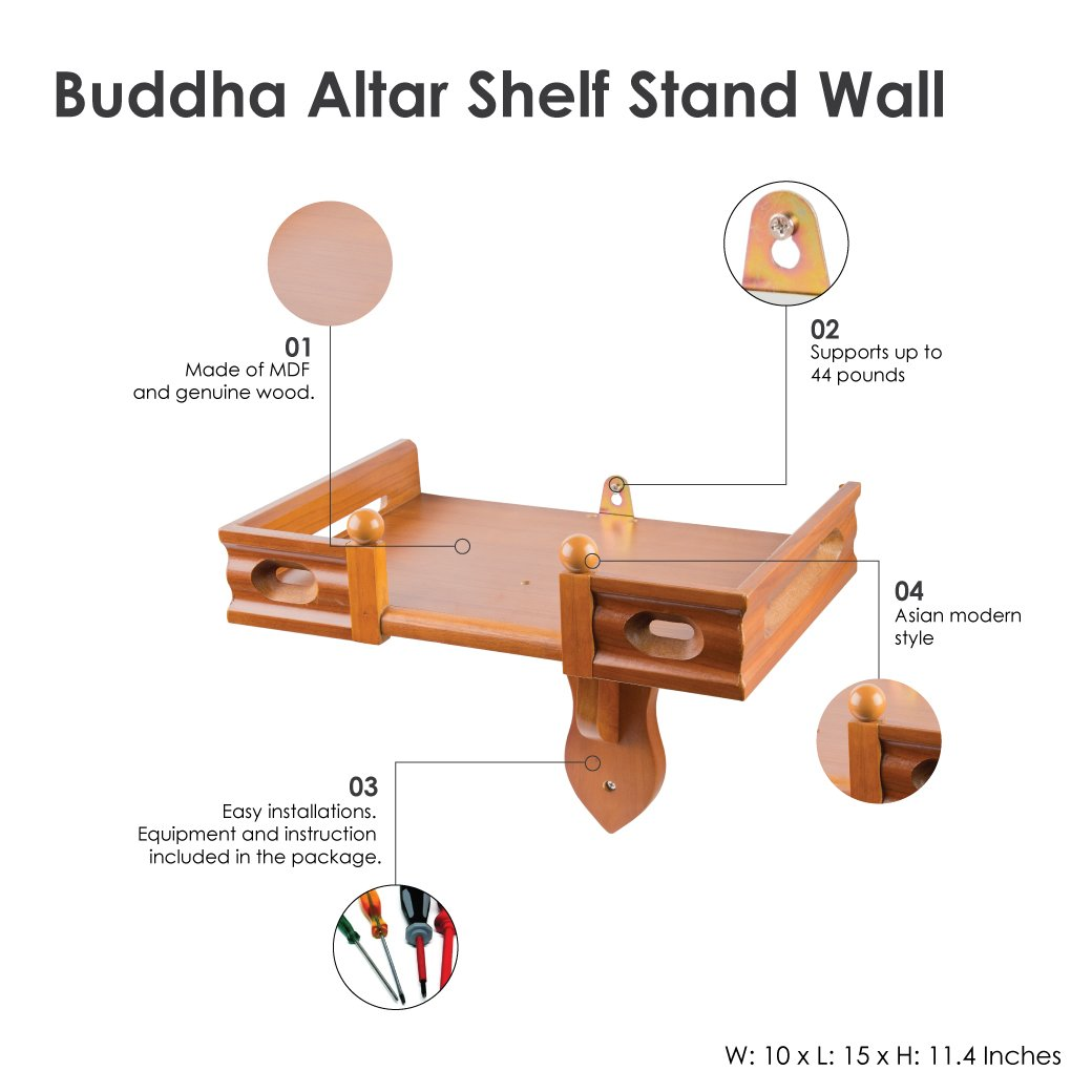NT furniture Buddha Altar Shelf Statue Stand Wooden Wall Rack (Teak, 10x15 inch)