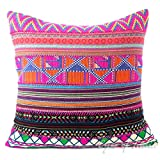 """EYES OF INDIA - 24"""" Pink Dhurrie Patchwork Throw Couch Cushion Pillow Cover Boho Bohemian Indian"""