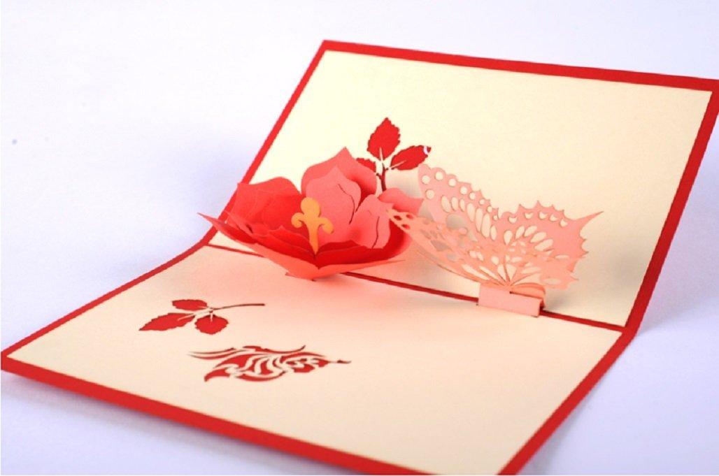 Origami hecho a mano papel artesanal paperart 3D popup pop up Navidad tarjeta de Navidad Tarjeta de San Valentín tarjeta del día de la madre tarjeta de cumpleaños tarjeta de felicitación corte láser r
