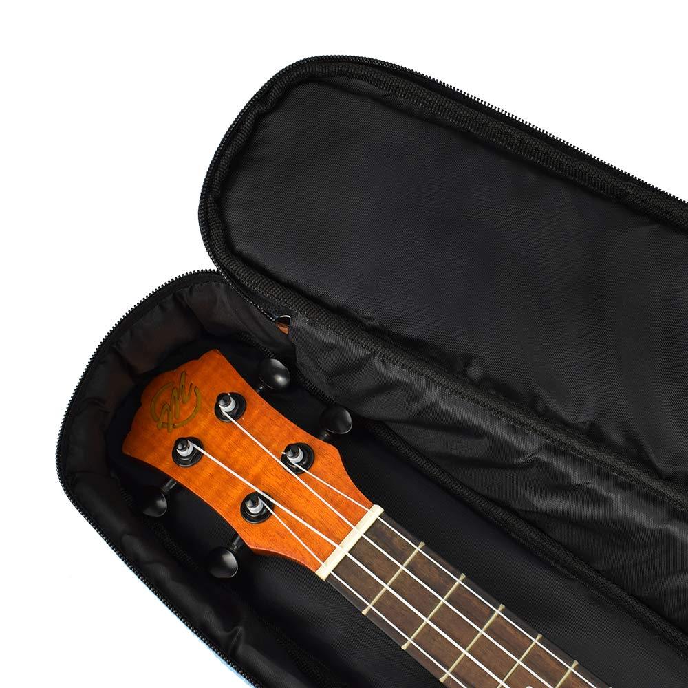 CloudMusic Funda para Ukelele tama/ño Soprano con Correas Ajustables para los Hombros y Asa para transporte 10mm de Acolchado 55cm x 17cm Color Nigro liso Soprano