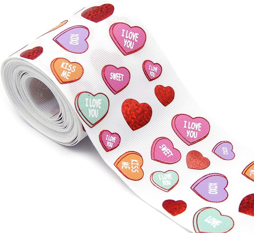 """HEART VALENTINE 1/"""" RED Grosgrain Ribbon 1,3,5,10 YARDS HAIRBOW SHIP FROM US"""