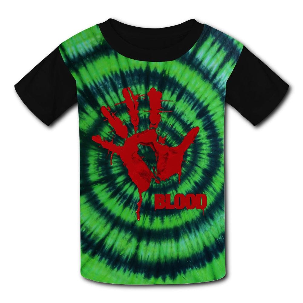 Youth 3D Printed Hand Hurt Blood Casual T-Shirt Short Sleeve for Kids Creative Graphic Design Summer Tee