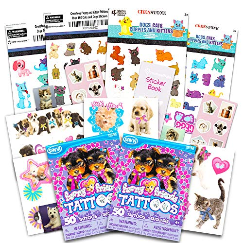 Kitten and Puppy Stickers and Tattoos Party Favors Pack (Over 240 Stickers and 75 Temporary Tattoos, Party Supplies) (Tattoo Dog)