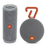 JBL Flip 4 Portable Waterproof Bluetooth Speaker and Clip 2 Waterproof Portable Bluetooth Speaker (Gray)