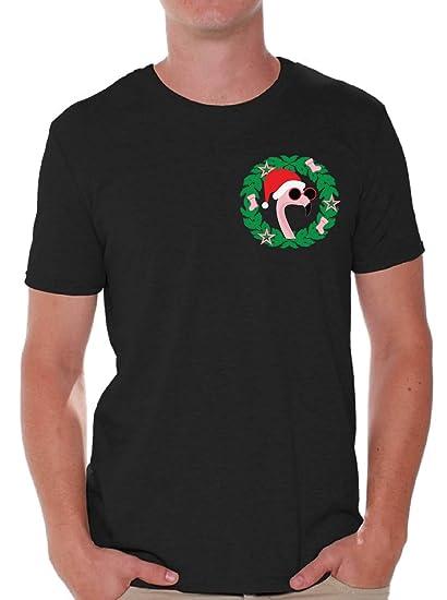 b63b765a Awkward Styles Christmas Flamingo Pocket Tshirt for Men Ugly Christmas T  Shirt Black S