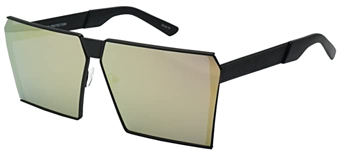 fbbcb95b49559 Oversized Thick Metal SquareSleek Retro Mirrored Oceanic Bright Color  Tinted Lens Sunglasses (Black