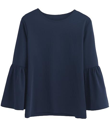 Verdusa Women's Round Neck 3/4 Bell Sleeve Solid Blouse Top T-shirt