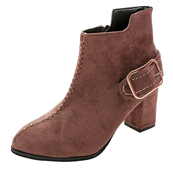 LILICAT❋ Negro, Khaiki, Marrón Botines con Cremallera de tacón Alto Botas Martin 35-40 Zapatos de tacón Alto para Mujer Martain Boot Suede Color sólido ...