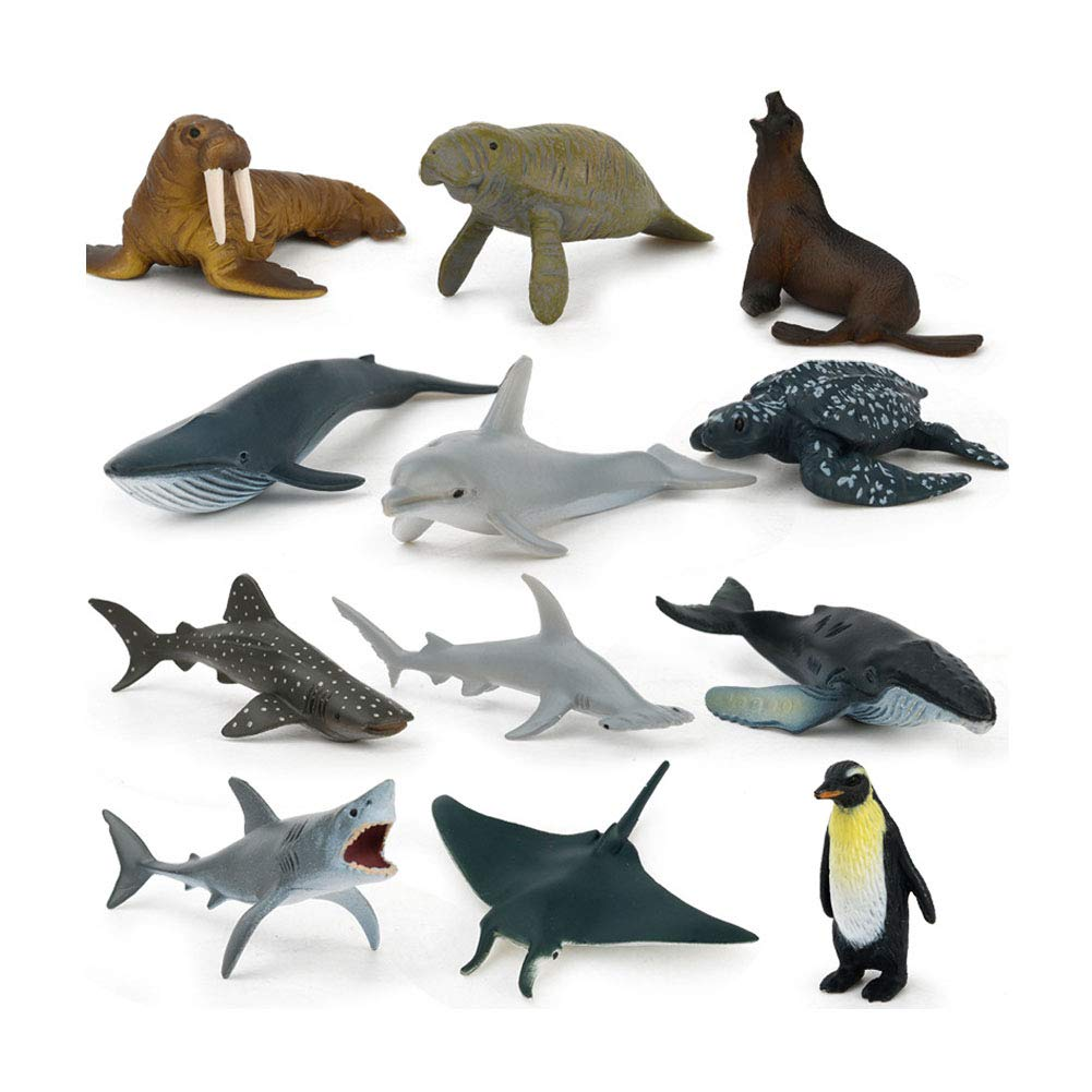 Alivier 12PCS Mini Animal Toys Set giocattoli educativi di plastica del dinosauro Giocattoli animali giungla