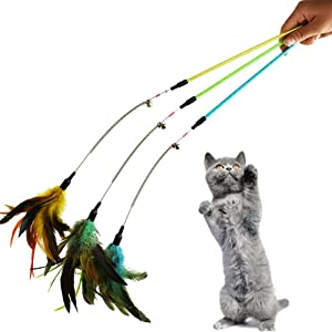 CatYou 3-Pack Cat Feather Toy with Beads and Bells and 23