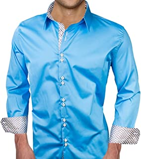 product image for Light Blue with White Metallic Designer Dress Shirt - Made in USA